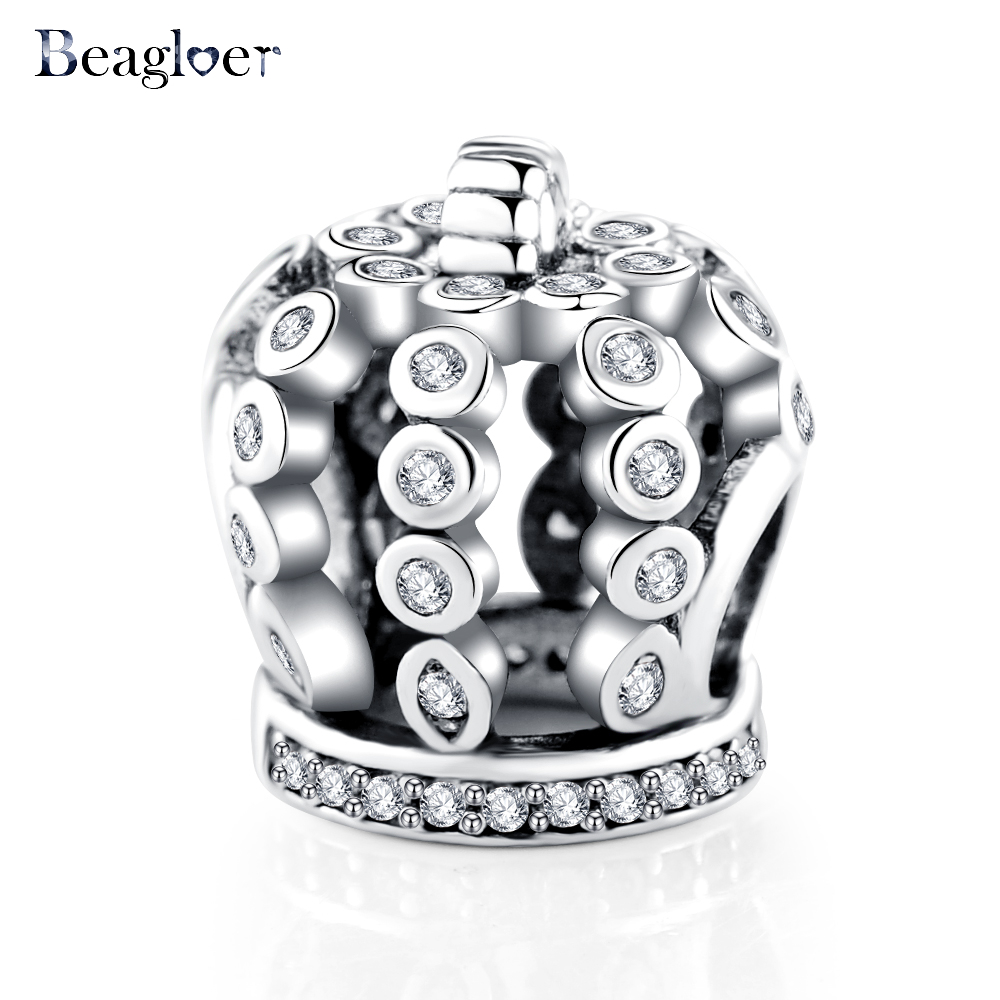 Beagloer 925 Sterling Silver Fairytale Crown Beads Fit Original Charm Bracelet Pendant Authentic Jewelry Making PSMB0731